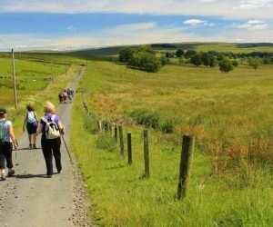 a group of walkers out in the National Park walking down a farm track