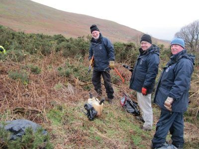 Volunteers helping to clear gorse in the national park