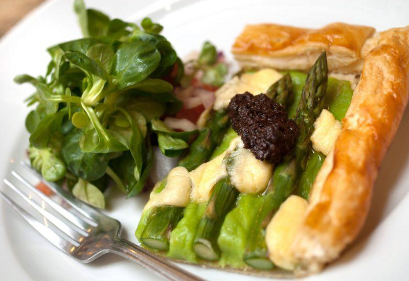 salad and pie on a plate