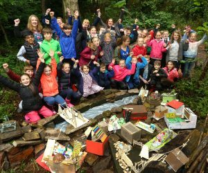 Children at a Sill forest school session with Learning Officer Rachel Baron