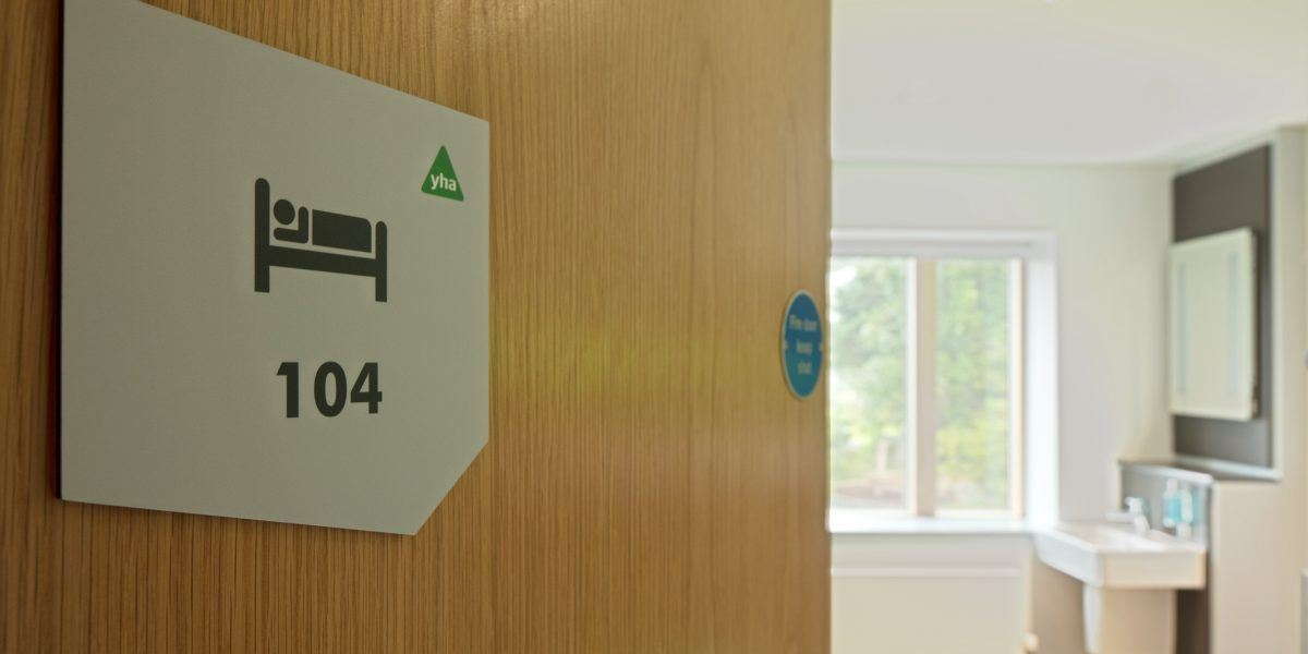 A door leading into a youth hostel bedroom