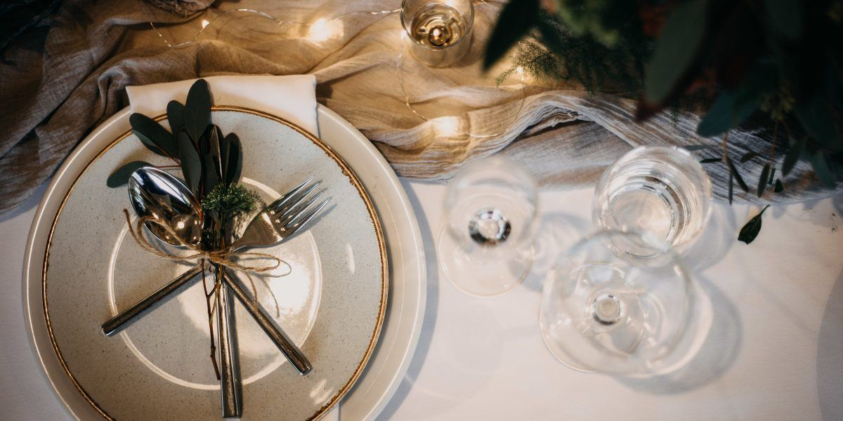 decorative plates on the table