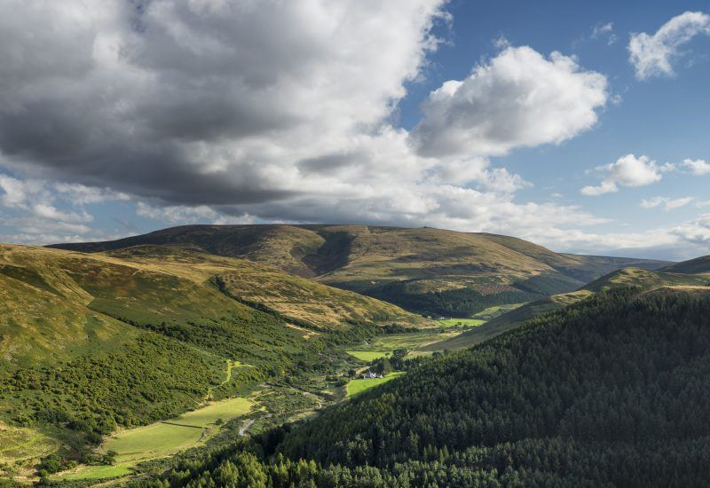 Panoramic shot of the College Valley and Cheviot from the summit of Great Hetha