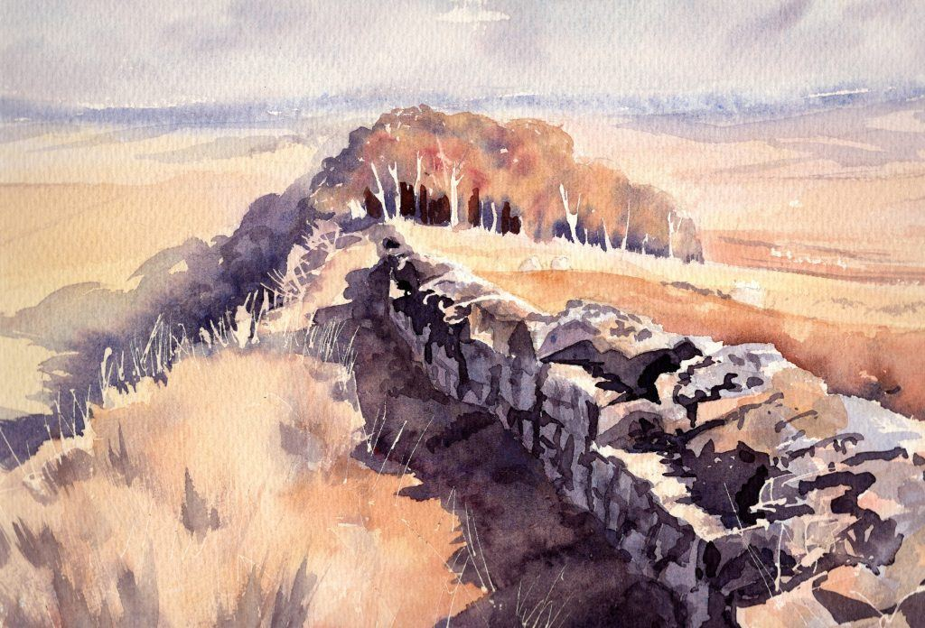 landscape of hadrian's wall painted by Charlotte Thompson