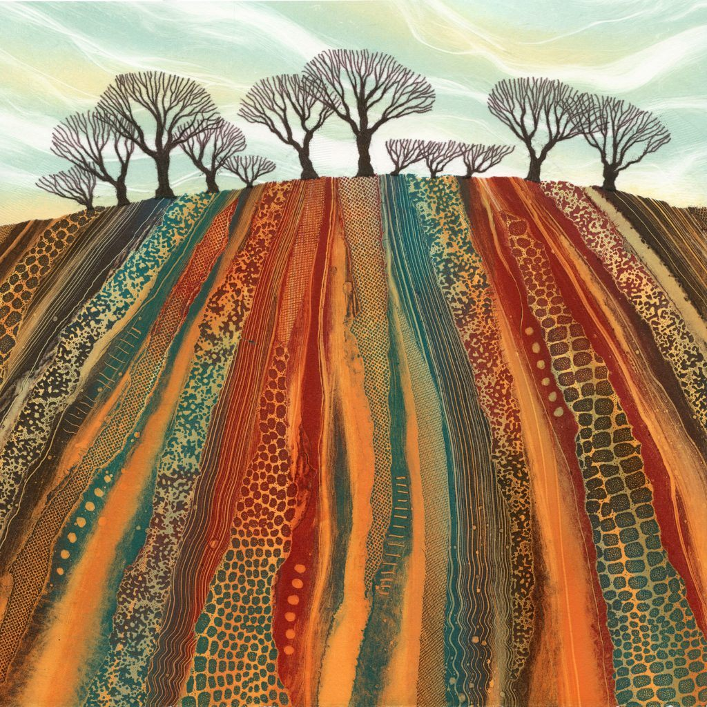 landscape monotype print by Rebecca Vincent