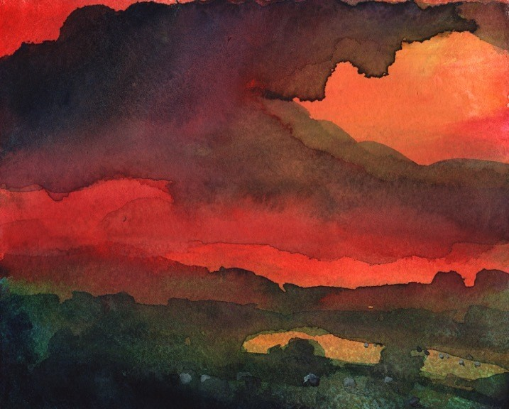 a red coloured landscape painting by Robert Newton