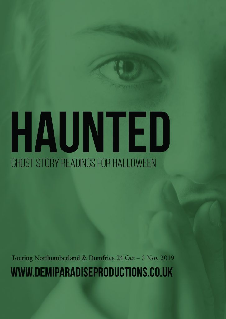 "poster advertising haunted. Text reads ""Haunted: Ghost Story Readings for Halloween"""