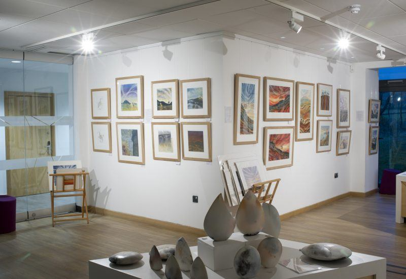 A selection on artworks on display in the Inspired by Our Land Exhibition at The Sill