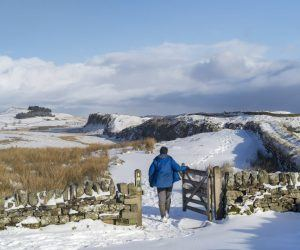 Male walker walking through the gate at Steel Rigg