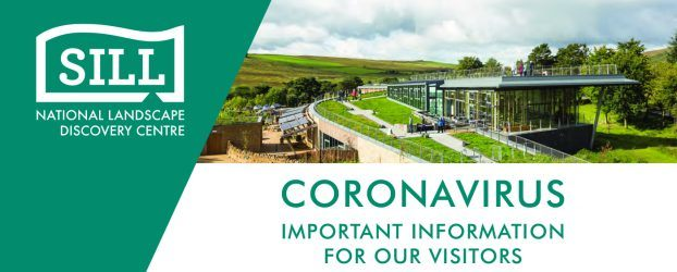 "A landscape image of the The Sill building text reads ""Coronoavirus Important information for ourvisitors."""