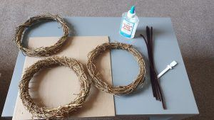 Three wooden circle which will make the main structure of the roundhouse model