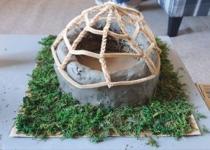 The structure of the roof added to the model