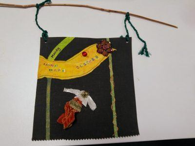 An embroidered banner
