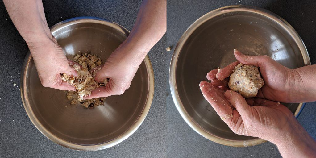 A collage of two photos show hand mixing ingredients and rolling them into a ball
