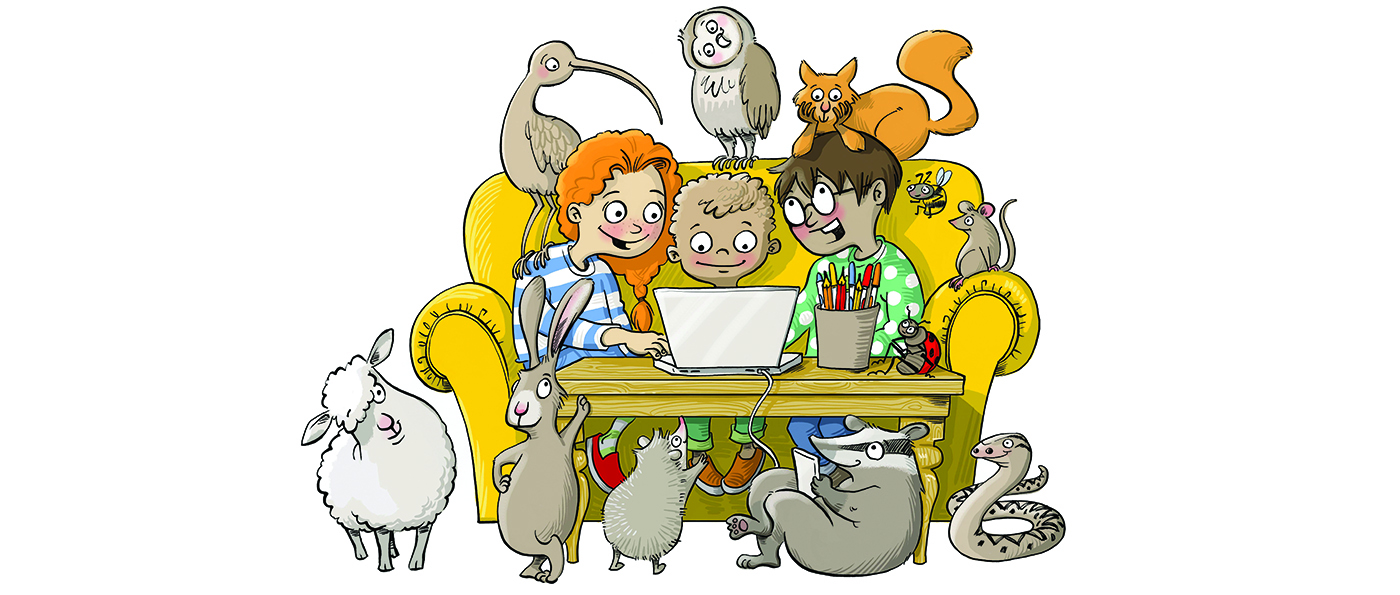 An illustration of children looking at a computer surrounding by small animals and birds
