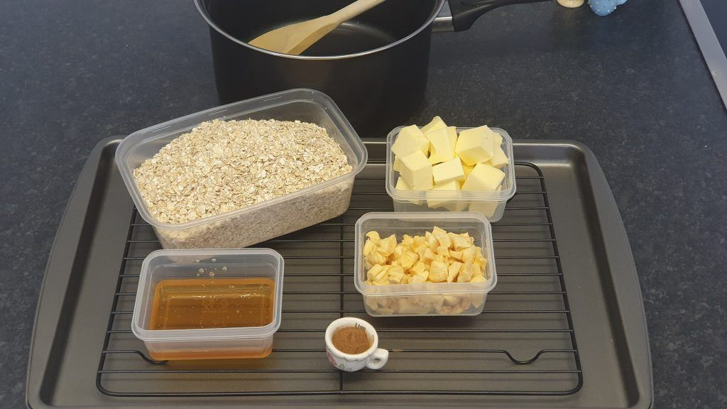 Baking ingredients on a a baking tray