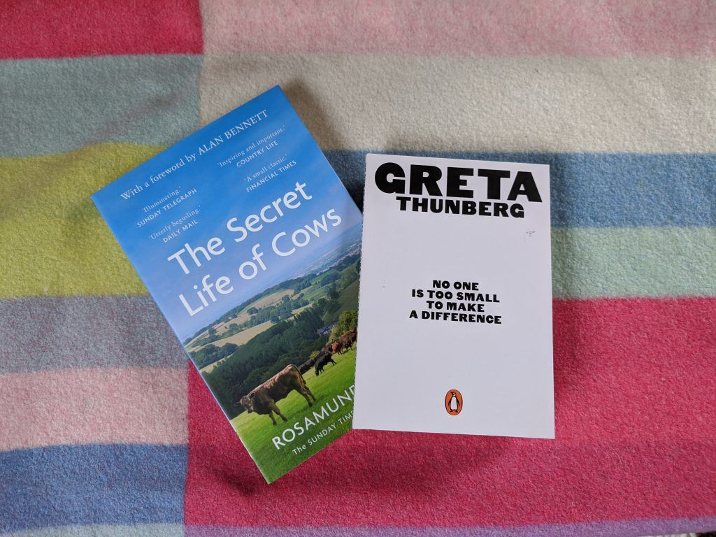 Book covers for The Secret Life of Cows and No One is Too Small to Make a Difference