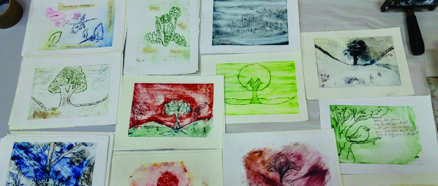 Nature inspired art prints on a table