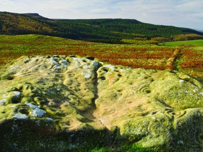 Rock art etched into Lordenshaws with Simonside Ridge in the background