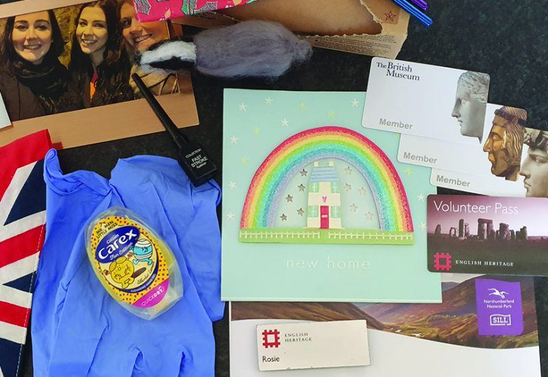 Items for a time capsule include photographs and bunting