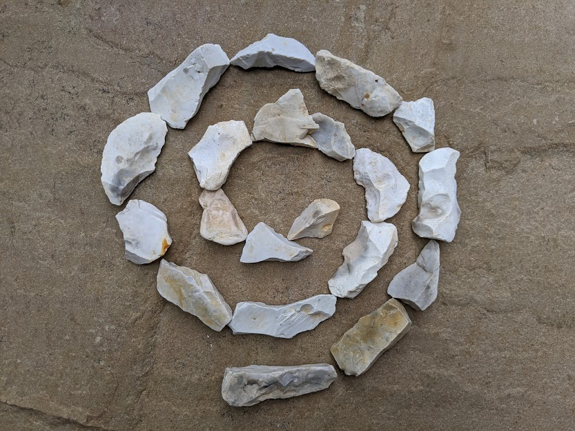Small stones arranged in a circular pattern