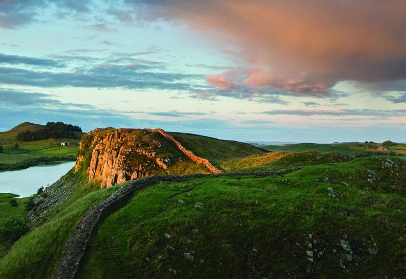 A view of Hadrian's Wall at sunset