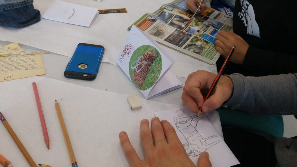 A close up photograph of hands creating a journal