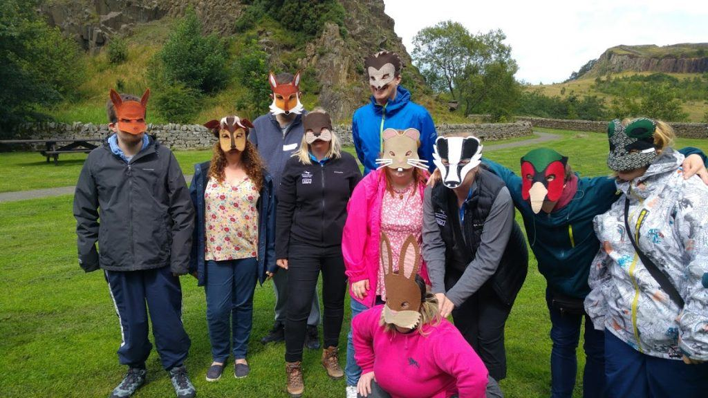 Visitors to the National Park were hand made animal masks