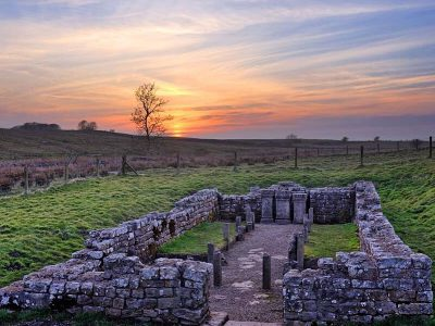 The remains of Brocolitia temple on Hadrian's Wall