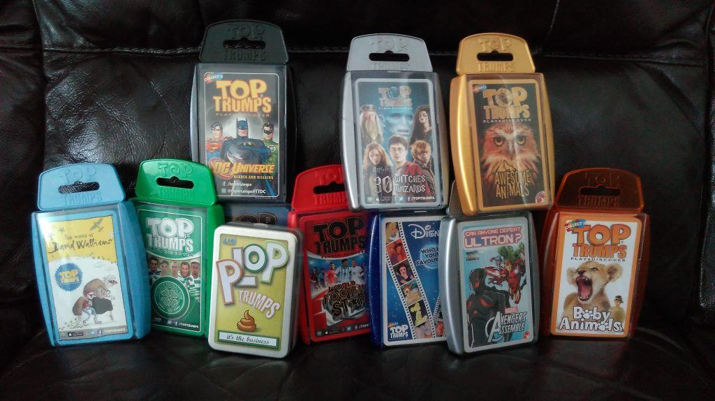 Various versions of the card game Top Trumps