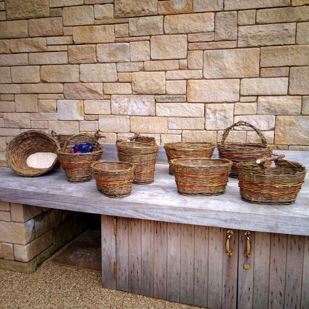A row of wicker baskets