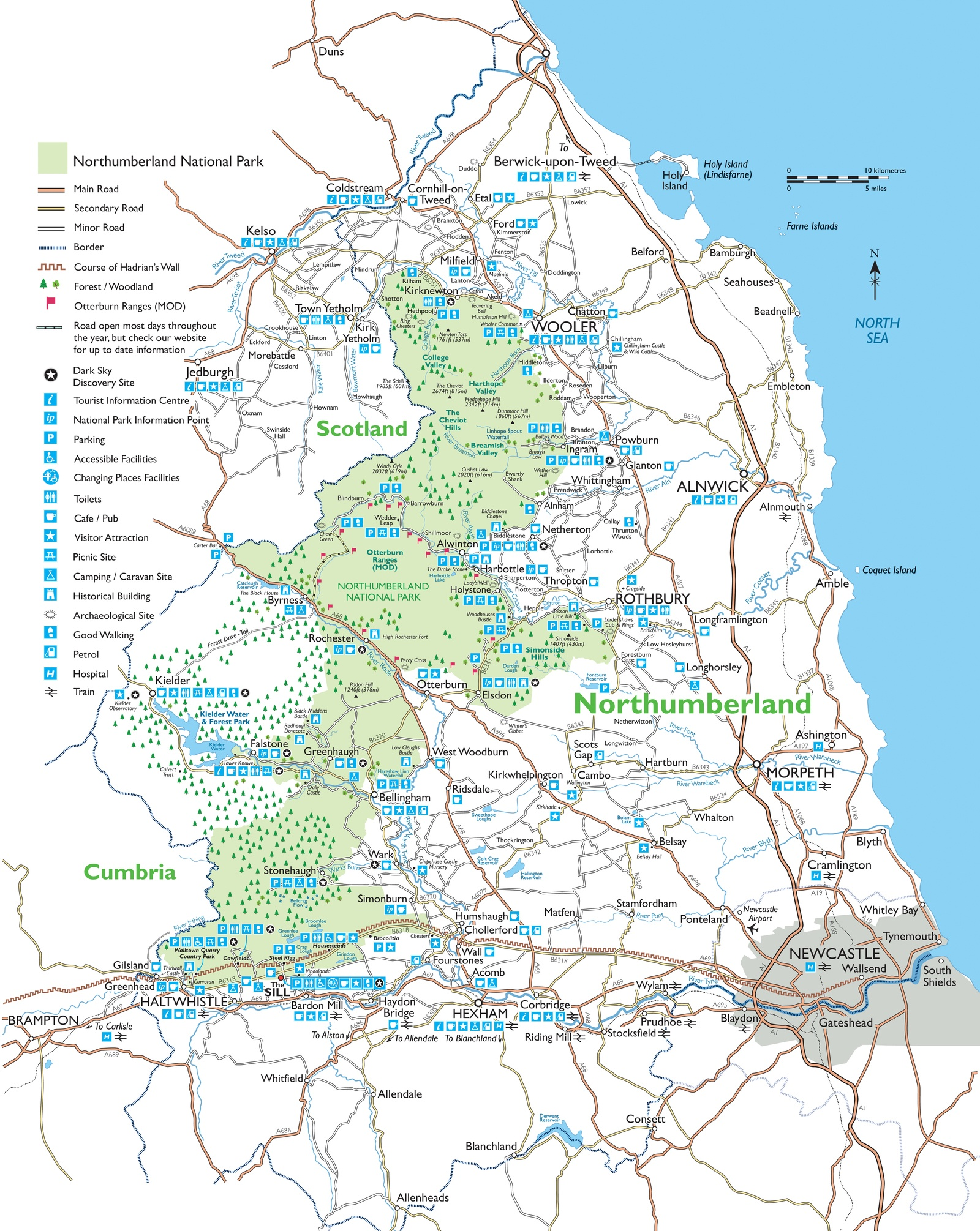 A map showing Northumberland National Park and the north east of England
