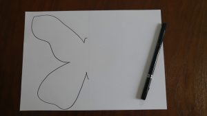The outline of butterfly drawn on white paper