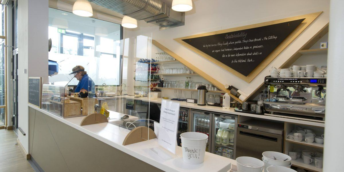 The counter in the Once Brewed Cafe