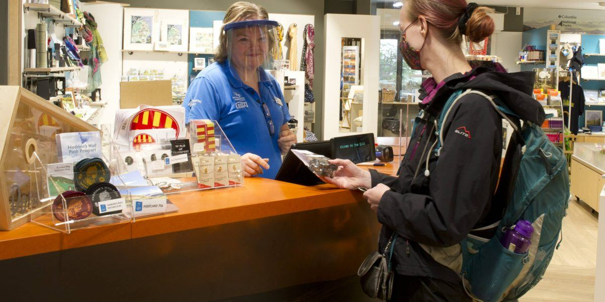 A customer being served in the Sill Shop