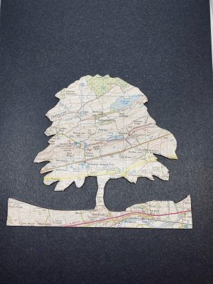 A cut out of Sycamore Gap made from a map