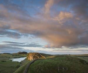 Sunset over Hadrian's Wall and Crag Lough, Northumberland, England