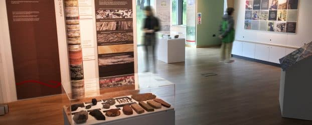 The Stories in Stone exhibtion at The Sill with a cabinet containing stone artefacts in the foreground and a visitor looking at information panels in the background.