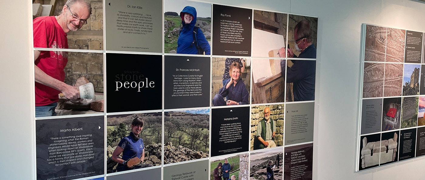 Information panels on a wall in the Stories in Stone Exhibition