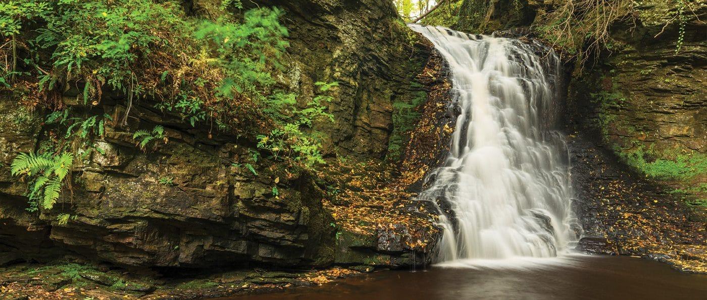 Hareshaw Linn waterfall near Bellingham, Northumberland, England