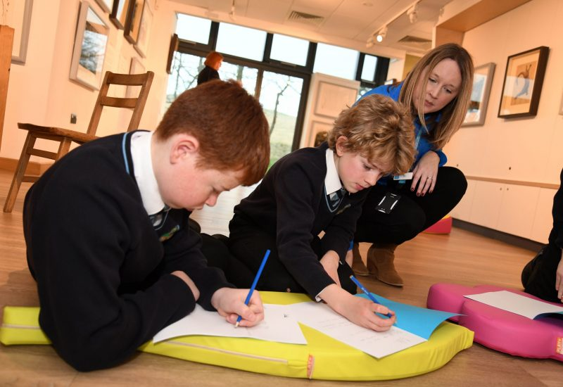 A member of staff from The Sill helps two young boys with a learning session.