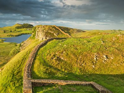 Milecastle 39 near Steel Rigg on Hadrian's Wall in the Northumberland National Park, England