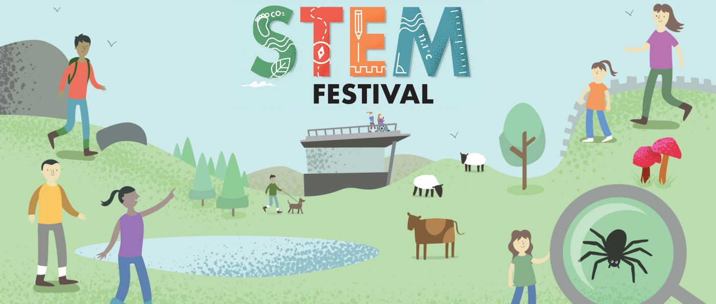 A childlike illustration of families walking around the hills around the Sill building. Text above the illustration reads STEM Festival.